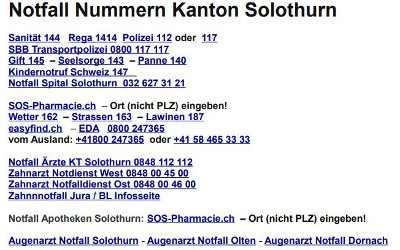 notfall nummern solothurn wasseramt